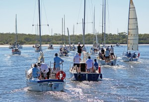 Competitors depart Snapper Creek heading for the start of the 2013 Bay to Bay Race