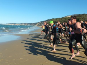 The scenic backdrop to Rainbow Beach's Double Tri