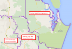See the catchment map at http://www.qgso.qld.gov.au/maps/edmap/