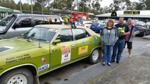 The Dodgy's - Dean and Andrea Hayes and Dan McCormick with their Kermit green, 1976 ZG Ford Fairlane