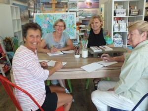 Ready for an arty workshop: Pat Barone, Chris Gudge, Leonie Kent and Heather Robertson