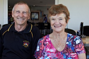 Ray and Margaret at our coffee morning, sharing tales of their recent world cruise