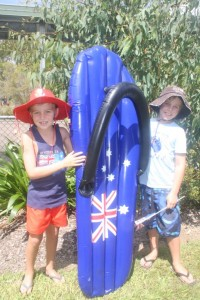 Wyatt and Levi dressed for Australia Day (snapped at the Tin Can Bay P-10 School concert)