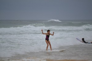 It was nine-year-old Ella's first time in a surf comp and she won the girls