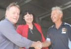 Cr Mark McDonald and Acting Mayor, Rae Gate, congratulate Jim George and the Fishing Club