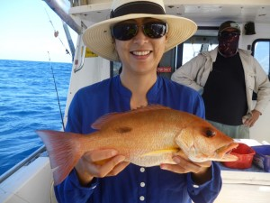 Debbie with her pearl perch