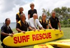 Surf Club members Helen Brown, Glenys Kidd (standing), Ray Wewer, Ron Organ, Debbie Cross and Ross Kidd thank Federal Member for Wide Bay and Deputy Prime Minister Mr Warren Truss (centre) for the federal grant win