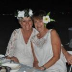 Kay- lynn Ladas and Cherie Mason in flowery finery