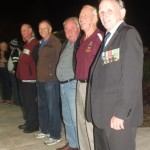 """Rainbow Beach RSL Sub Branch members John Molkentien, Ray Beaufoy, John Ackery, Pat Nayler and Padre Bruce Dorman at the ANZAC Day Dawn Service - the """"best ever"""" for Rainbow Beach with record crowds and perfect weather"""