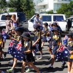 Rainbow Beach State school students waved their flags - they really do appreciate taking part on ANZAC Day