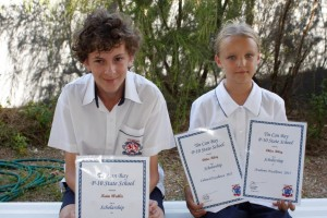 Scholarship recipients were Kain Wallis (Academic Excellence) and Chloe Riley (Academic and Cultural Excellence)