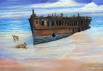 Owen Pointon's painting Dingoes guard the wreck is on display on Fraser Island