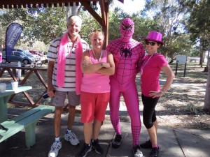 Ian Giesemann, Donna Small, Spider Man (aka Sid Smith) and Donna Hope Photo supplied