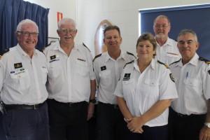 New executive: Ian Sutton, Terry Murphy, Incoming Commander John Van der Heijde, outgoing Commander Colleen Johnson, John Macfarlane & Deputy Commander Phil Feldman