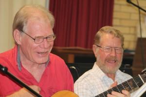Having fun at Music Plus: Gunther and Len