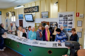 Over 60s members waiting for their turn to ring the Maheno's bell at the Maheno exhibit