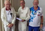 Norton Nial president of QRI Bowls Club with Patron Ron Sollaye and Vice President Peter Fitzakerley