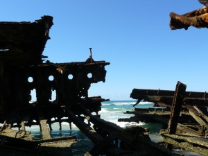 The Maheno wreck 50 years after it ran aground, a major landmark on the Fraser Island coast