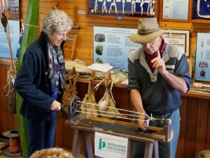 Margaret Johnstone with ropemaker Brian Taylor