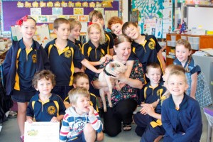 Penelope the Pig visited lots of schools in the lead up to Pig Day Out including Mrs Chamberlaine and Prep/1s