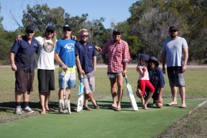 Shane Irving, Luke Simpson, Craig Killalea, Steve Hiley, Murray Everett, Daisy and Merv O'Neill and Darren Timms have been preparing the pitch and extending the Rainbow Beach cricket field - ready for play most Saturdays this month!