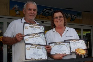 Rod and Sharon Parker from Ed's Beach Bakery show off their awards for excellent pies!