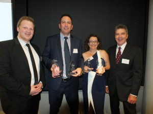 Joel Clapham from Media Super with new president  Ted Rogers (right) at the Queensland Country Press Association Annual Awards presented trophies to Heatley and Michelle Gilmore, owners of the Community News