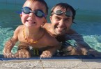 Kai and his dad Aaron ready for swim lessons
