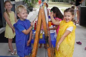 Playgroup Picassos Tehya Purnell, Blake Findlater and Lexie Bull can enter their works into the Rainbow Beach Art Festival