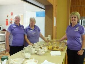 President Pam Bauer and fellow Lionesses Linda Walsh and Robyn Breen fundraising at the LAC Flower Show
