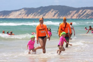 Age Manager Remy Hethorn and Water Safety Officer Michael Brantz are please to see more green caps(Under 6 and 7 years) join nippers