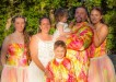 A rainbow wedding for Clay and Tania Preston with family Iesha Jones, Brodie, Nikkita-Rose, and Kiera-Lee Preston Image Dan Donohue, Coastal Motion