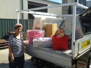 Marilyn Dean collected goods for farmers to load on Tonys Stewart's Ute - ready to transport to Longreach