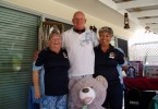Club members, Barbara Bennett and Larraine Goodwin congratulate raffle winner Rick Kelly of Tallebudgera Image supplied