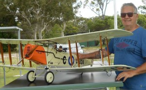 Dave Carkeek with Neil Low's model Bristol F2B, which first flew in 1915 - the best British fighter to come out of World War One