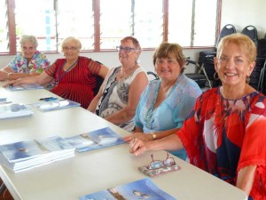 Authors Roma Ravn, Della Kerrison, Raewyn Oliver, Marie Parker, Chris Laughton (Liz Simpson absent) launched the first joint publication for Tin Can Bay writers group
