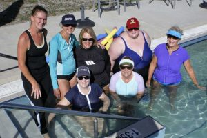 BJ Parton (left) surrounded by some of her devoted Aqua ladies - some participants travel from Tin Can Bay four days a week to attend!