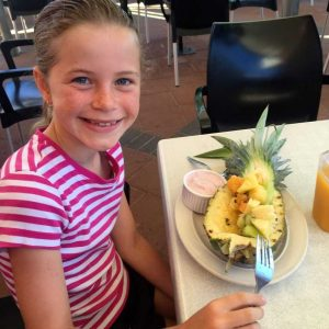 Make the most of of local eateries on the coast - last holidays Saachi Stiefler was spotted tucking into a beautiful tropical fruit salad from her parent's Andy and Alison's Coloured Sands Cafe
