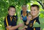 In the living tunnel at Rainbow Beach State School, Mark, Chappy Ronnie, Bailey and Aiden are amazed how the gourd grew over the school holidays! You can tour the kitchen garden and sample a Devonshire tea at an open day this month.