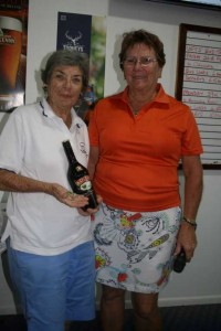 Marilyn Richards receiving her hole-in-one badge and prize from our Lady Captain, Janet Reibel