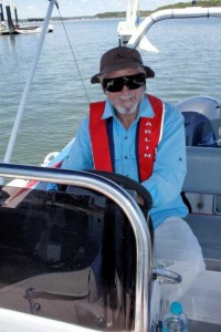 Peter Pickin at the helm