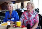 Colleen Yallowley and Carmel Darcy having coffee at the Surf Club