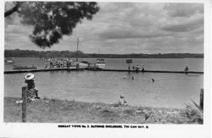 Many children, like Mary Potter, learnt to swim at the Tin Can Bay Bathing Enclosure in the 1950s illustrated on a Murray View's postcard supplied by Gympie Regional Library