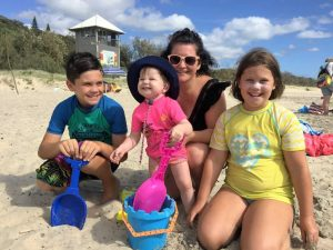Michelle Harder was visiting mum Glenda Eckel - kids Lachlan, Adelle and Lara had fun on the beach!