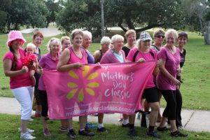 Jess Milne, baby Bonnie and the Zumba ladies get ready for the Mother's Day Classic at Tin Can Bay!