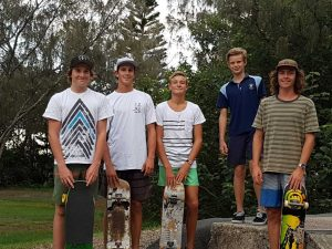 Cody Hethorn, Alex Wilson, Zak McCarthy, Isaac Cole and Nicholas White seek progress on the skate park
