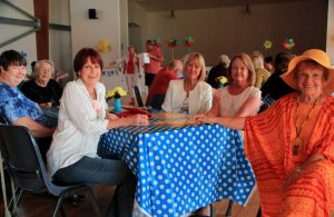 Denise and Geraldine Farrelly, Cherie Mason, Peggy Phelan, Kathy Wallace and June Brown enjoy a catch-up over a cuppa