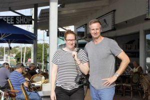 Lauren Bath and Destination Gympie Region's Andrew Saunders breakfasted at Café Jilarty's before completing their road trip of the region