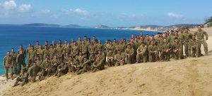 Bravo Company 8/9 RAR assemble on Carlo Sandblow after their 70km of pack marching