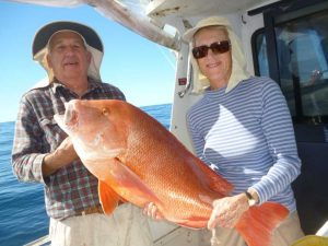 John and Beryl from Brissie with Beryl's 14kg red emperor